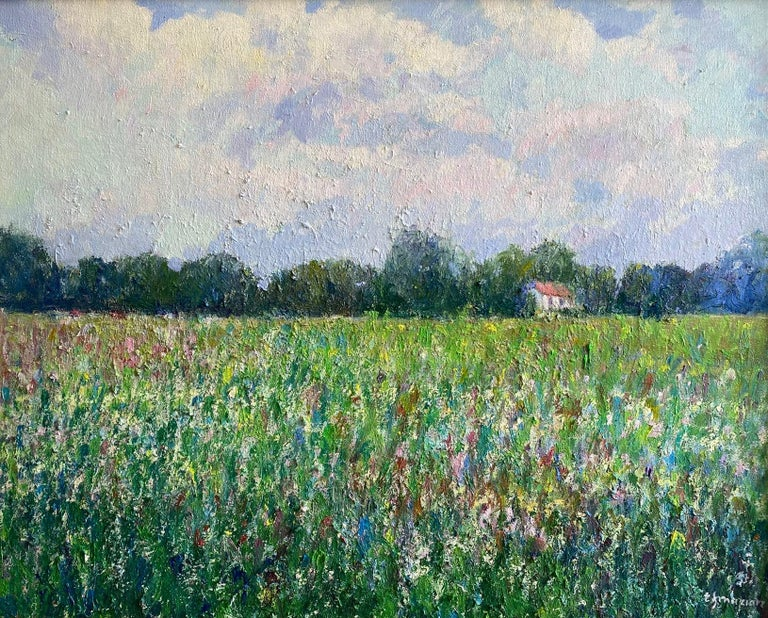Field of Flowers, original 24x30 French impressionist landscape - Painting by Eugene Maziarz