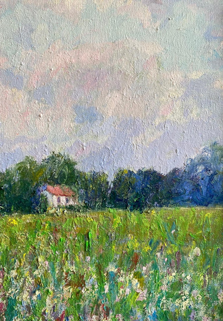 Field of Flowers, original 24x30 French impressionist landscape - Impressionist Painting by Eugene Maziarz