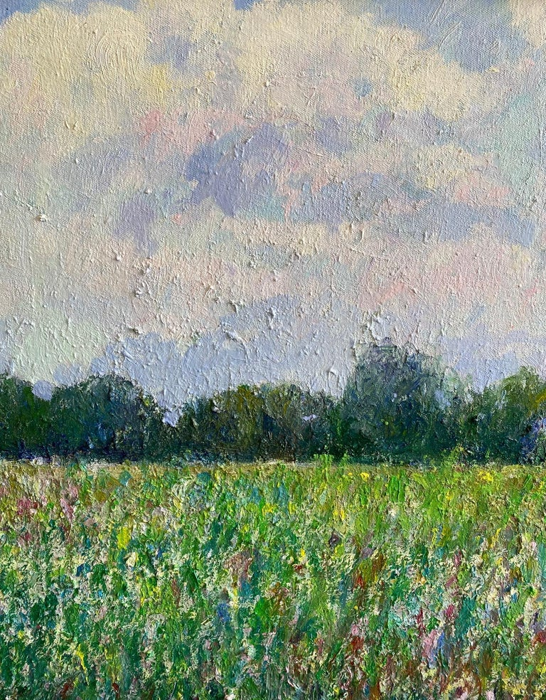 Field of Flowers, original 24x30 French impressionist landscape - Brown Landscape Painting by Eugene Maziarz