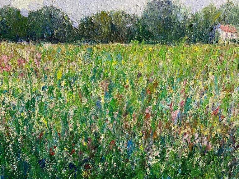 Field of Flowers, original 24x30 French impressionist landscape For Sale 1