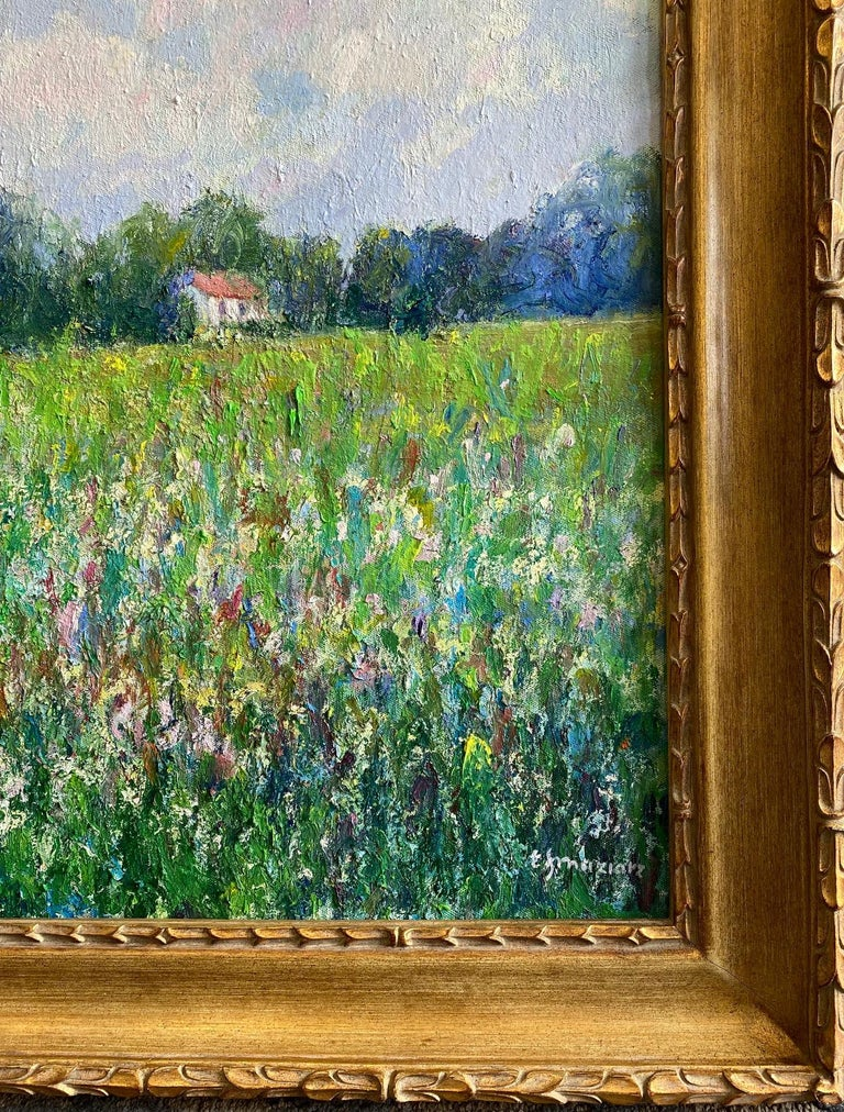 Field of Flowers, original 24x30 French impressionist landscape For Sale 2