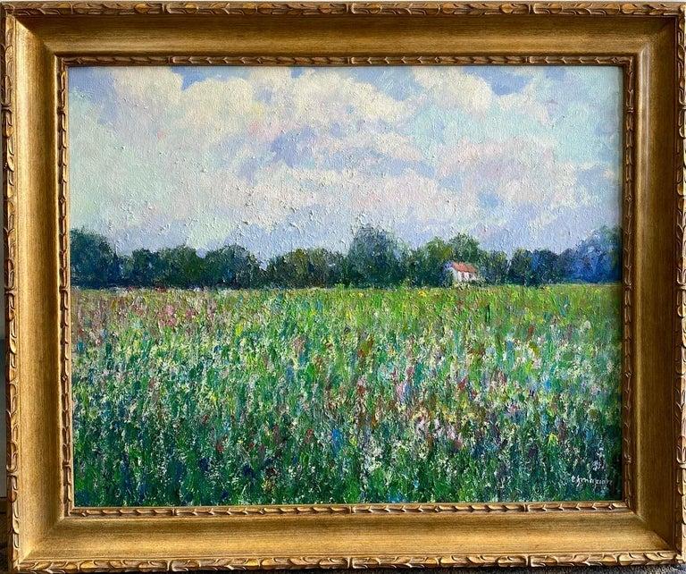 Eugene Maziarz Landscape Painting - Field of Flowers, original 24x30 French impressionist landscape