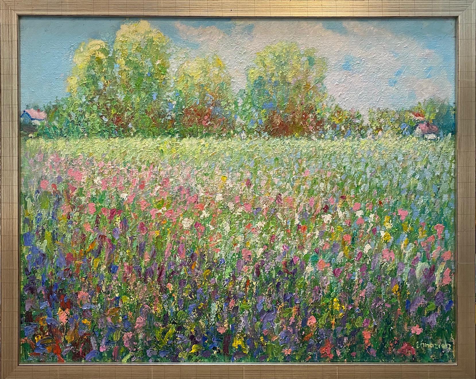Spring Flowers, original 24x30 impressionist floral landscape