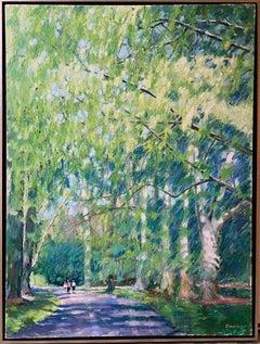 Under the Umbrella, original 40x30 impressionist figurative landscape