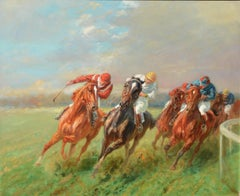 """Equestrian painting by Eugene Pechaubes, titled """"The Horse Race"""""""