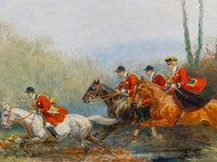 The Hunting with Hounds Oil On Canvas by Eugene Pechaubes circa 1935