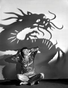 Anna Wong Sitting with Dragon Shadow Movie Star News Fine Art Print