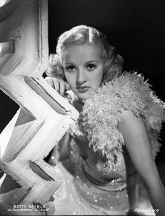 Betty Grable Glamour Shot on Zig Zag Pillar Fine Art Print