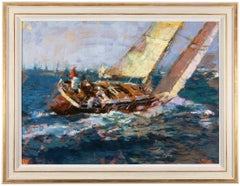 Large Yachting Painting by Eugene Segal 'Russian School'