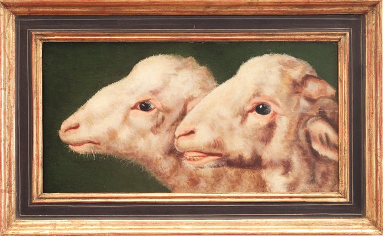 Study of two sheep heads by Eugène Verboeckhoven (attributed), oil on panel For Sale 2