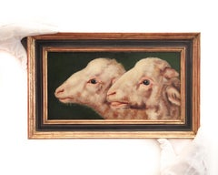 Study of two sheep heads by Eugène Verboeckhoven (attributed), oil on panel
