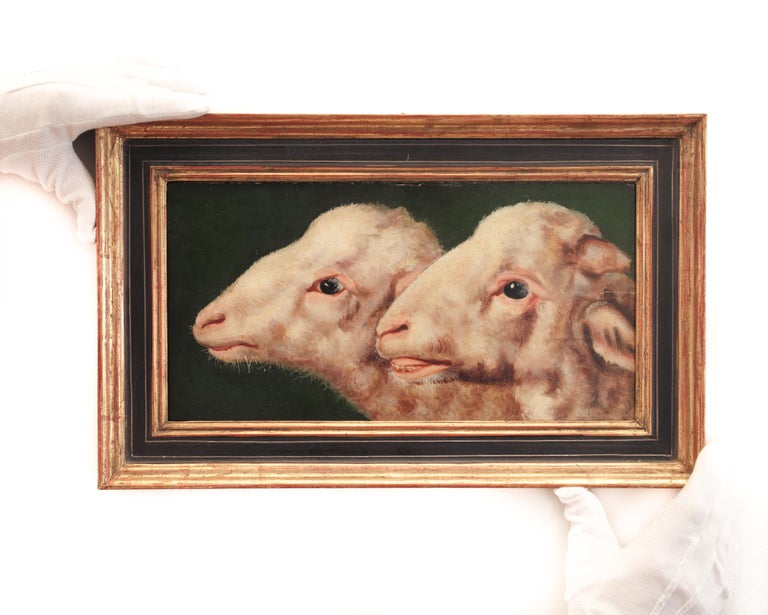 Eugène Verboeckhoven (1798-1881) (attributed to)  Study of two heads of sheep  oil on panel panel size 7.48 x 14.56 inches (19 x 37 cm) fine condition frame included  Provenance:  Hampel Auctions Munich, Catalogue VI, Decorative objects & Hampel