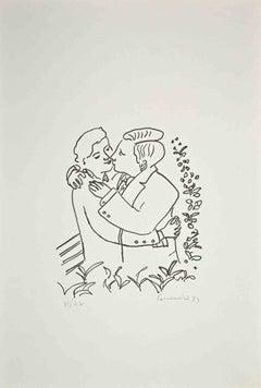 The Couple - Original Lithograph by Eugenio Comencini - 1970s
