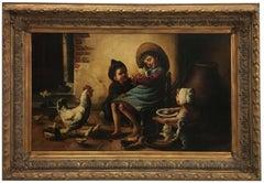 INSIDE SCENE- Belgian School -  Italian figurative oil on canvas painting
