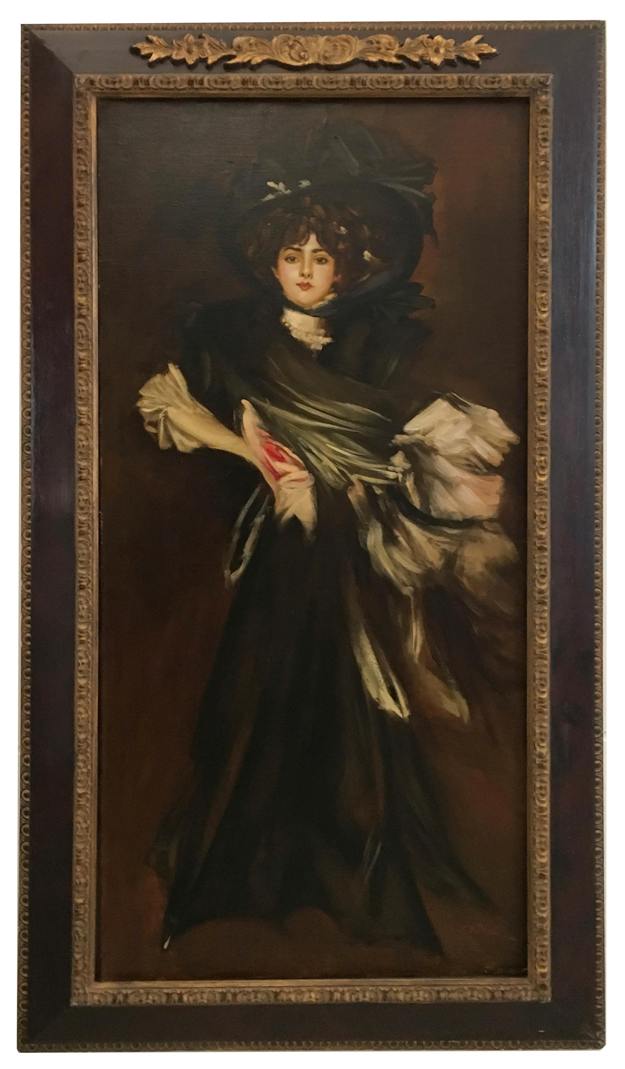 LADY IN BLACK-In the Manner of G. Bodini-Italy figurative oil on canvas painting