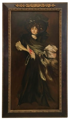 LADY IN BLACK- Eugenio De Blasi Italian figurative oil on canvas painting