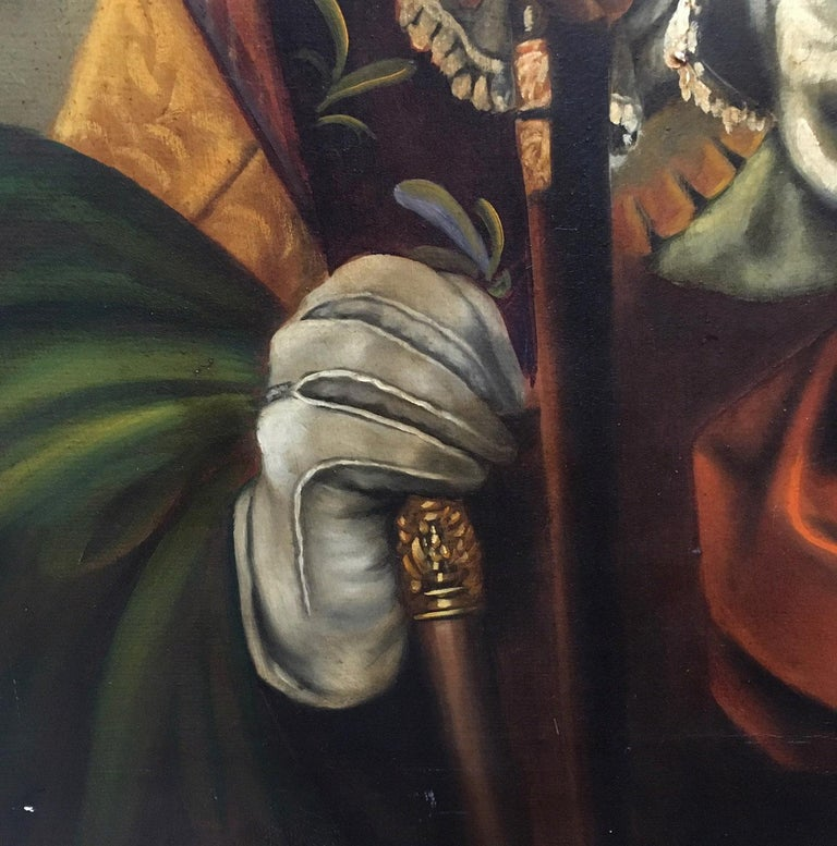 MUSKETEERS -  French School - Figurative - Italian Oil on Canvas Painting For Sale 1