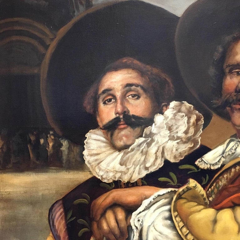 MUSKETEERS -  French School - Figurative - Italian Oil on Canvas Painting For Sale 6