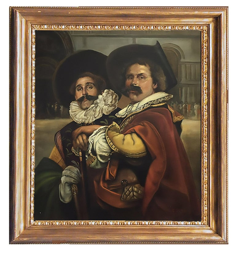 Eugenio De Blasi Figurative Painting - MUSKETEERS -  French School - Figurative - Italian Oil on Canvas Painting