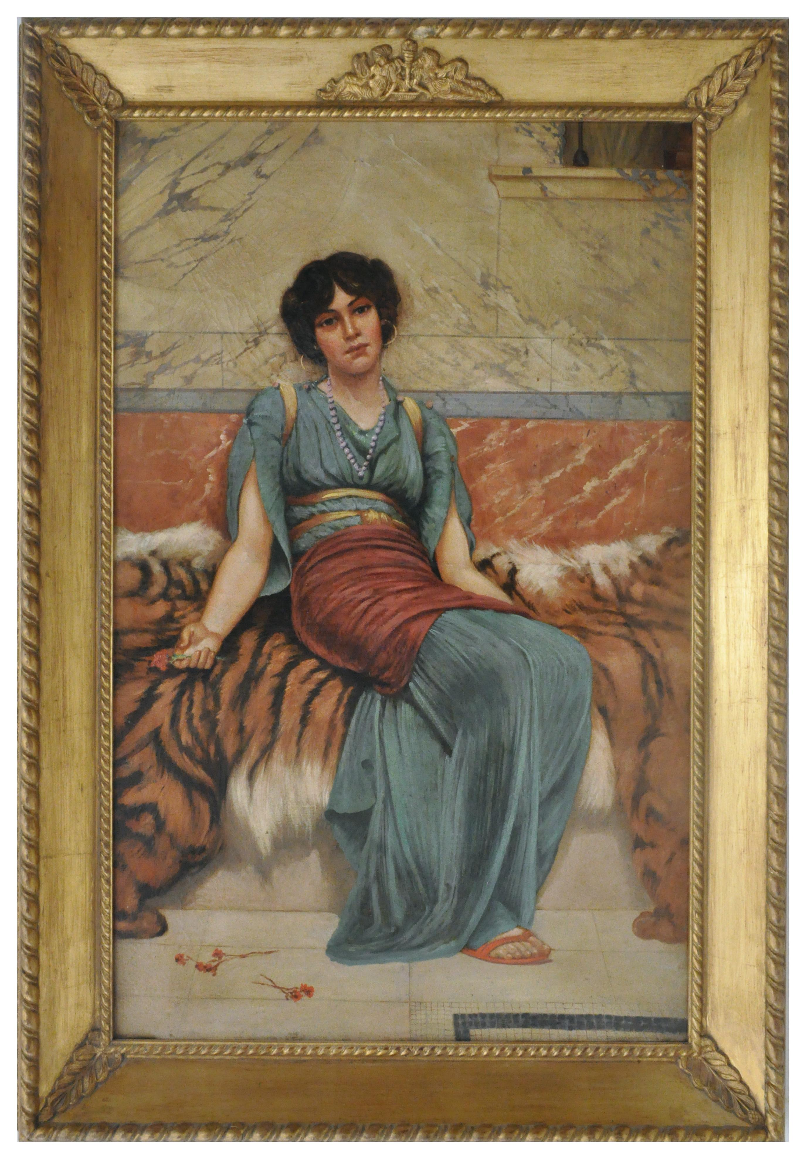 NEOCLASSICAL FIGURE -In theManner of J. W. Godward Italy  Oil on canvas painting