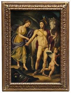 PERSEO AND ANDROMEDA- Italian School- Figurative Italian Oil on Canvas Painting