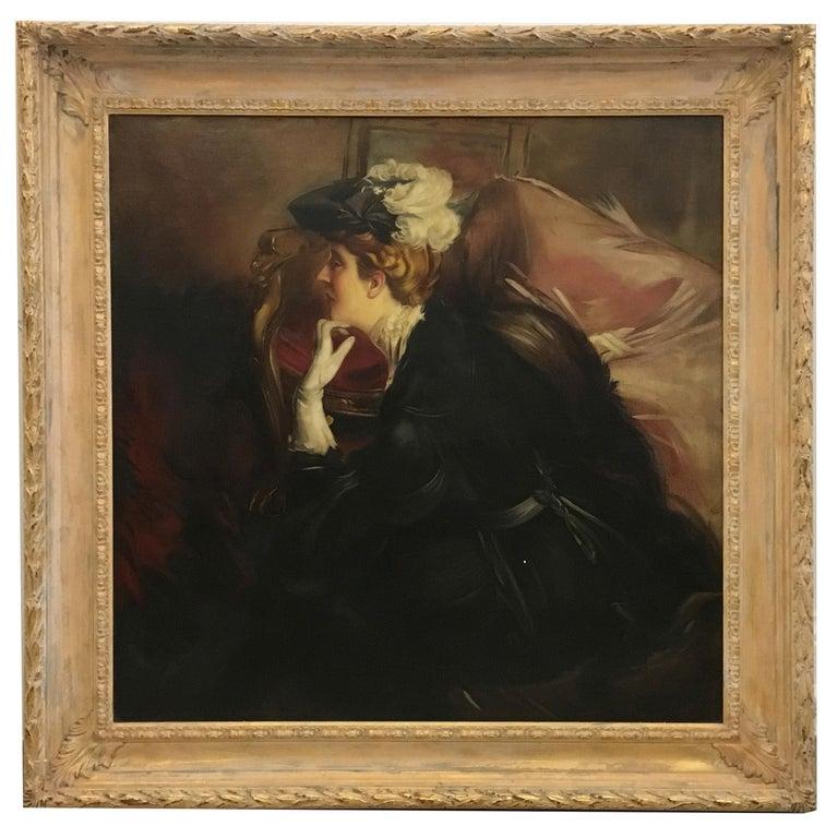 Eugenio De Blasi Portrait Painting - PORTRAIT OF A LADY- In the Manner of G.Boldini - Portrait Oil on canvas paint