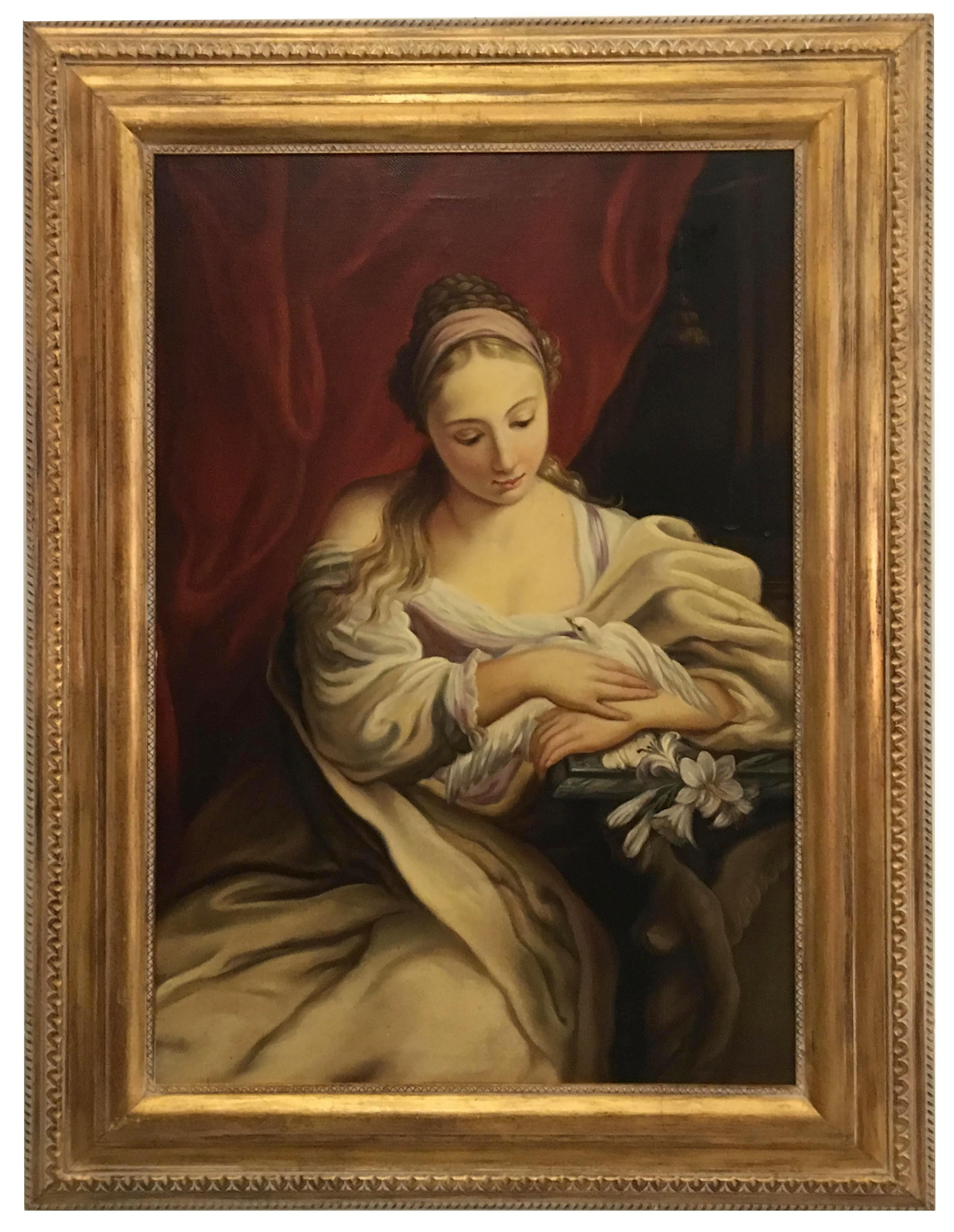 PORTRAIT OF YOUNG WOMAN - Venetian School -Italian oil on canvas painting