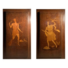 Eugenio Diez Illuminated Marquetry Wall Hangings