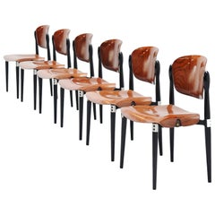 Eugenio Gerli Chairs S83 set of 6 Tecno, Italy, 1962