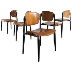 "Eugenio Gerli for Tecno Italian Curved Wood Dining Chairs Model ""S832"", 1962"