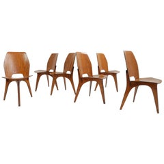 Eugenio Gerli for Tecno, Italy 1959 Iconic and Rare Set of 6 Teak Plywood Chairs