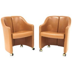 "Eugenio Gerli for Tecno, ""Series 142"" Leather Chairs"