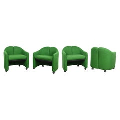 Eugenio Gerli Midcentury Green Fabric PS142 Italian Armchairs for Tecno, 1960s
