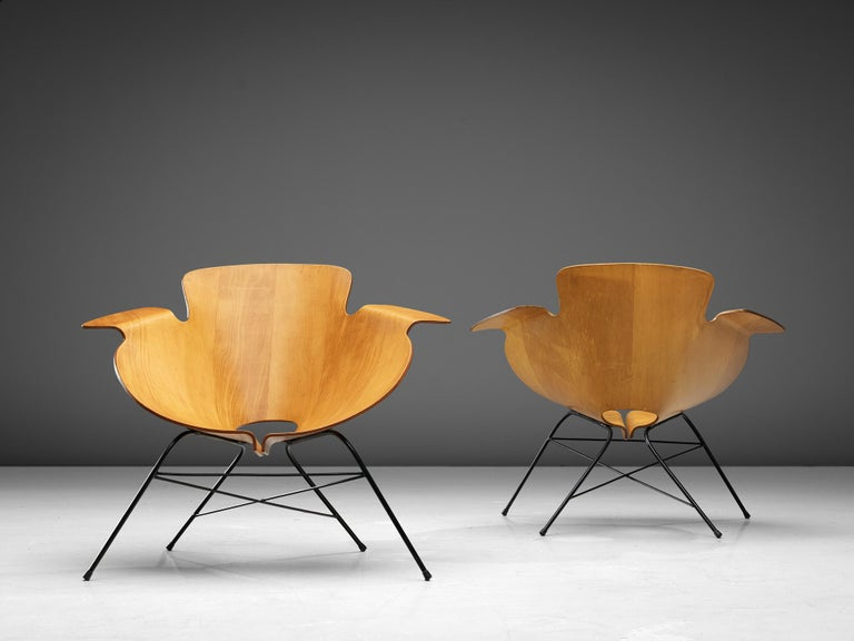 Eugenio Gerli for Società Compensati Curvati, pair of lounge chairs, walnut, plywood, metal, Italy, 1958