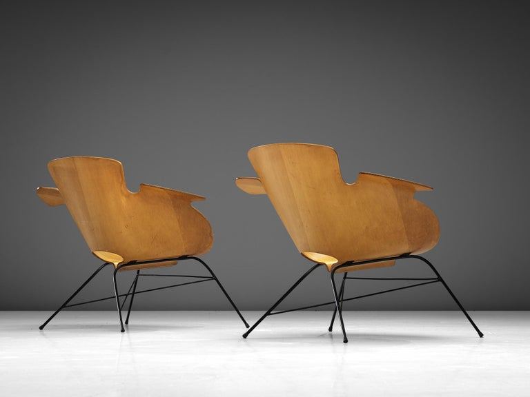 Eugenio Gerli Pair of Italian Armchairs in Plywood and Metal For Sale 1