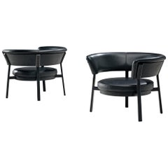 Eugenio Gerli Pair of 'P28' Easy Chairs in Black Leather