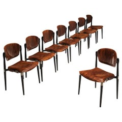 Eugenio Gerli Set of Eight Early 'S83' Chairs for Tecno