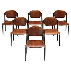 Eugenio Gerli Set of Six Early 'S83' Chairs for Tecno