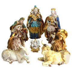Eugenio Pattarino Italian Glazed Ceramic Nativity Scene