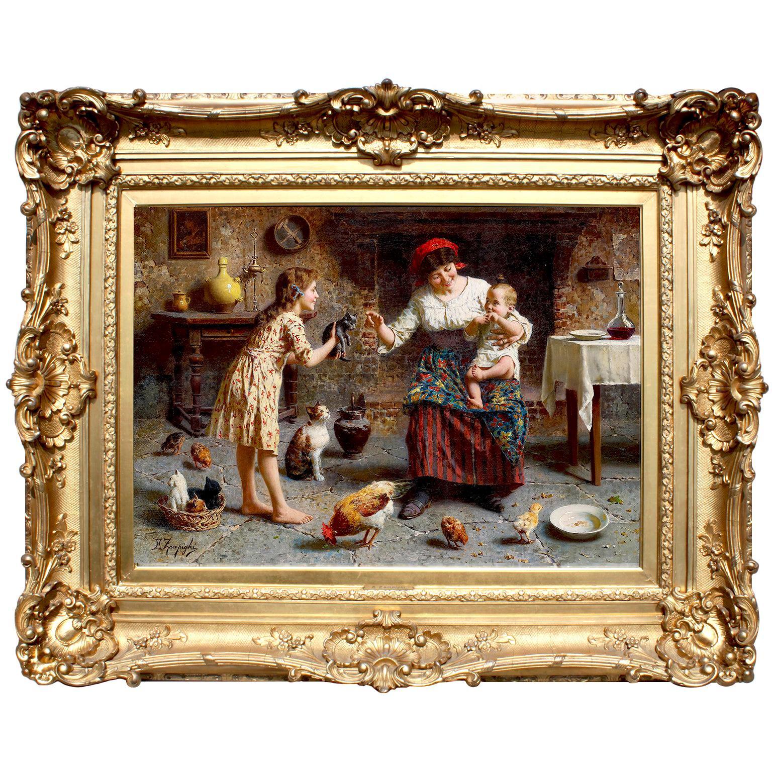 "Eugenio Zampighi 'Italian, 1859-1944' 19th/20th C. Oil on Canvas ""Joyous Family"""