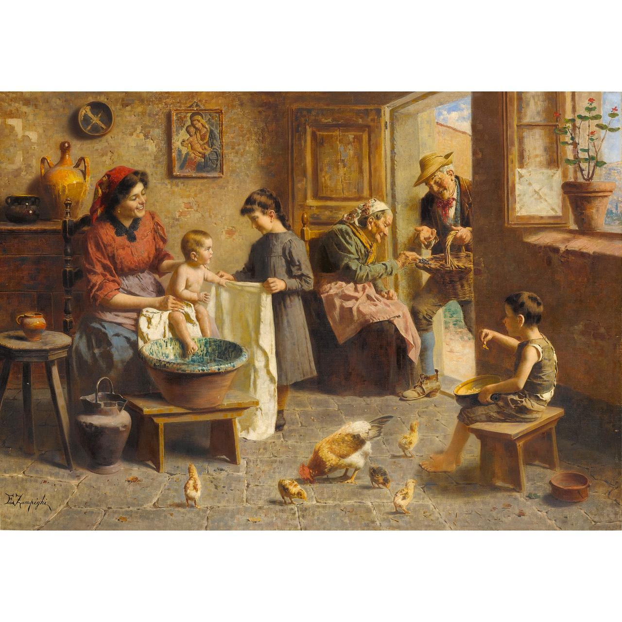 Eugenio Zampighi Happy Family Painting