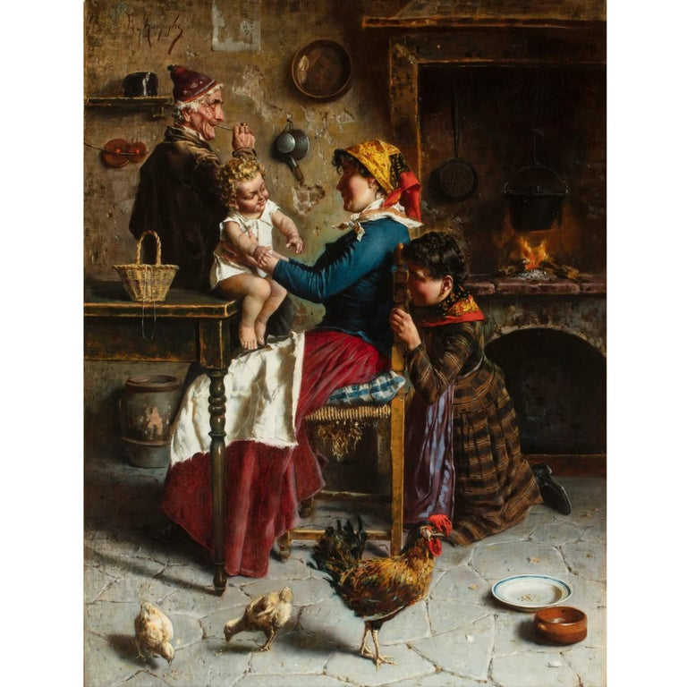 Italian genre oil painting of an interior by Eugenio Zampighi For Sale 1
