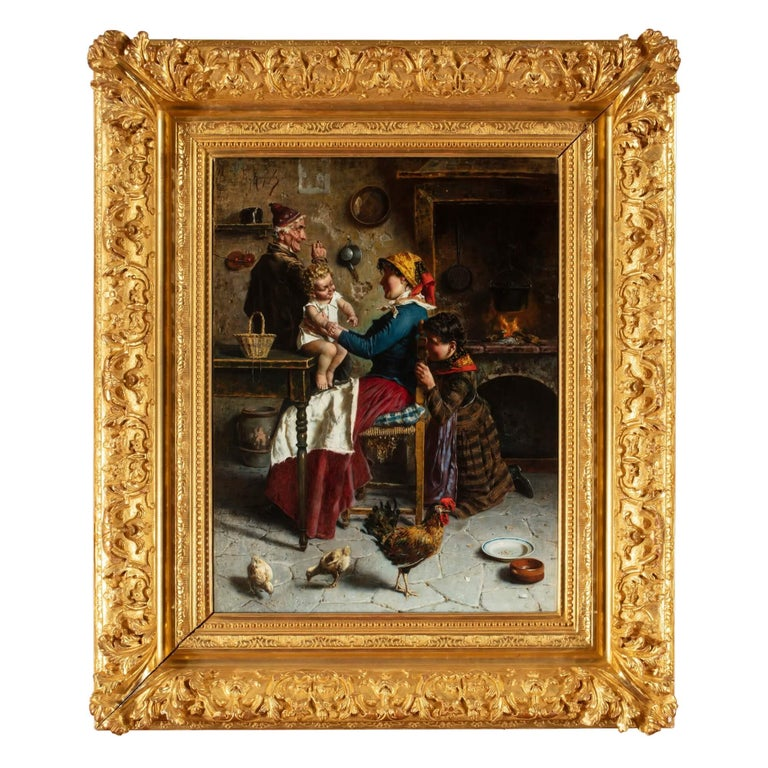 This fine genre painting is by the Italian artist Eugenio Zampighi. The painting depicts a genre scene—that is, something lifted from everyday life and not drawn from the landscape or the canons of history. A young mother bounces her baby on her