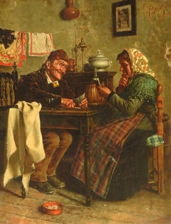 """The Winning Card"", E. Zampighi, Oil on Canvas, Original Antique, 23x17 Framed"