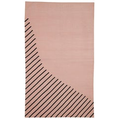 Eulerian No. 1 Rug by Tantuvi Modern in Pink & Black Handwoven Cotton, 6x9