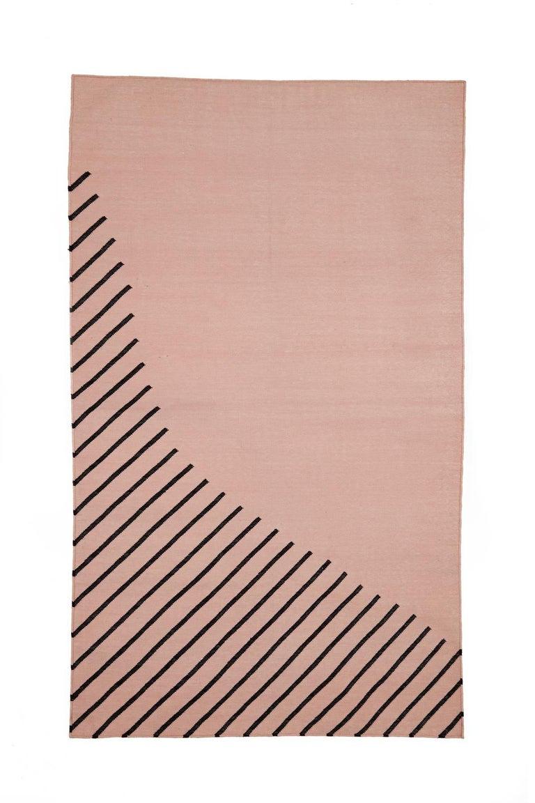Indian Eulerian No 4 Rug or Carpet Tantuvi Modern Teal Natural Black Handwoven Cotton For Sale