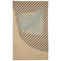 Eulerian No 4 Rug or Carpet Tantuvi Modern Teal Natural Black Handwoven Cotton
