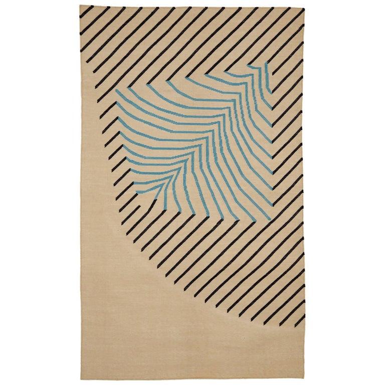 Eulerian No 4 Rug or Carpet Tantuvi Modern Teal Natural Black Handwoven Cotton For Sale