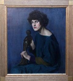 Self Portrait with Bronze Statue - Scottish Art Deco female oil portrait