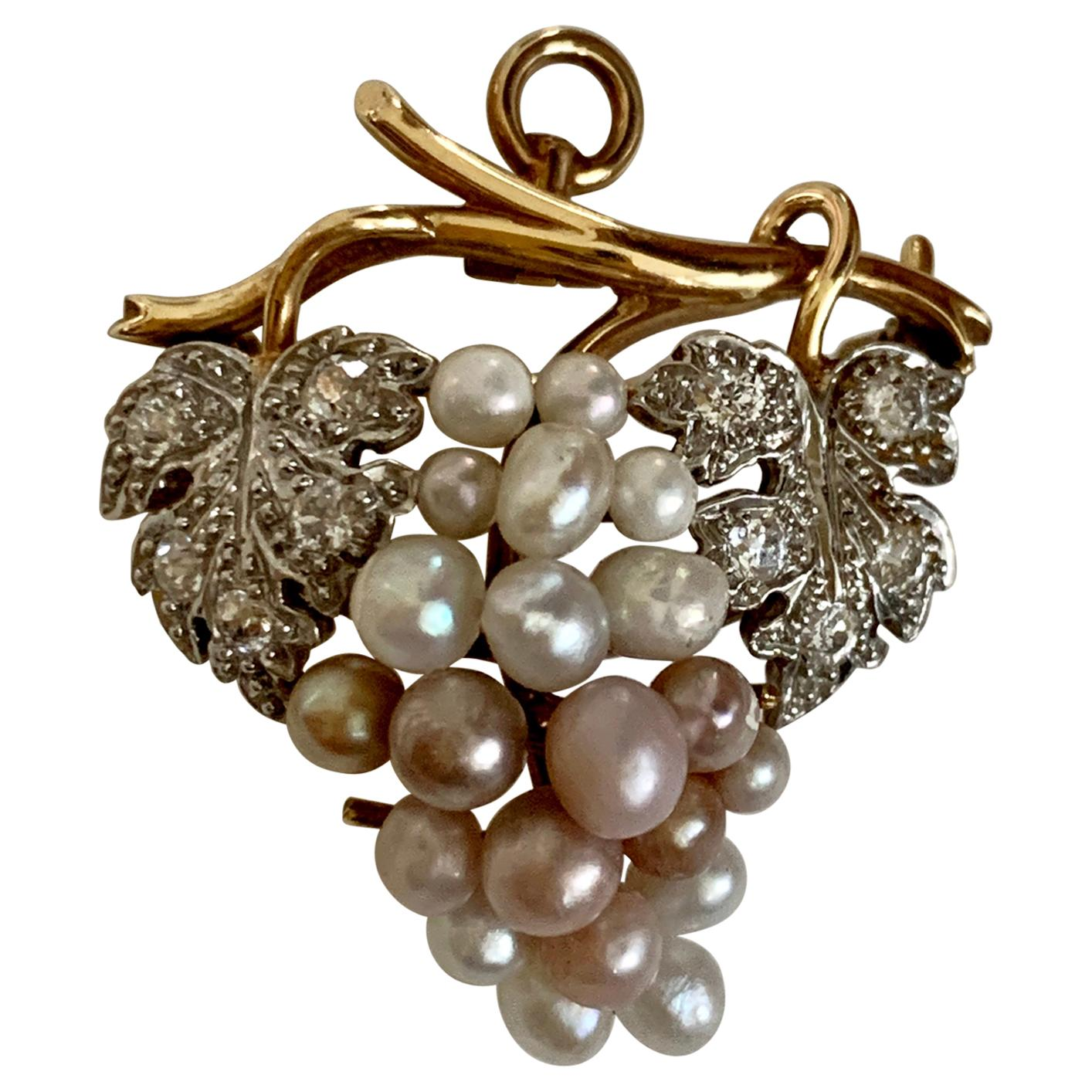 Euro Cut Diamond and Pearl Grape Design 14 Karat Yellow Gold Pendant Brooch Pin